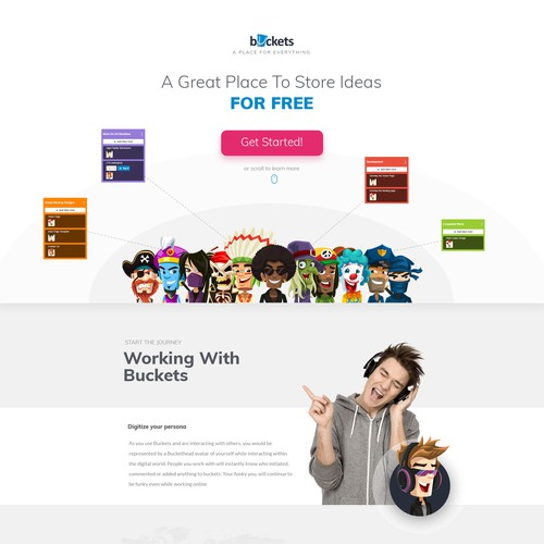 Fun and exciting landing page for Buckets