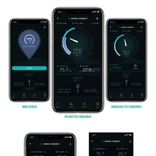 Dark Mode concept of internet speedtest app