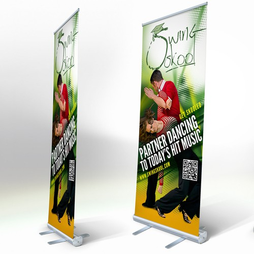 Design an exciting banner for a modern dance style
