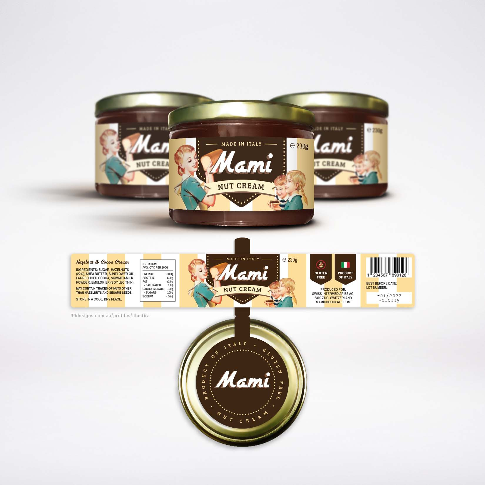 Etikette für eine hochwertige Schokoladen-Nuss-Creme (made in italy)