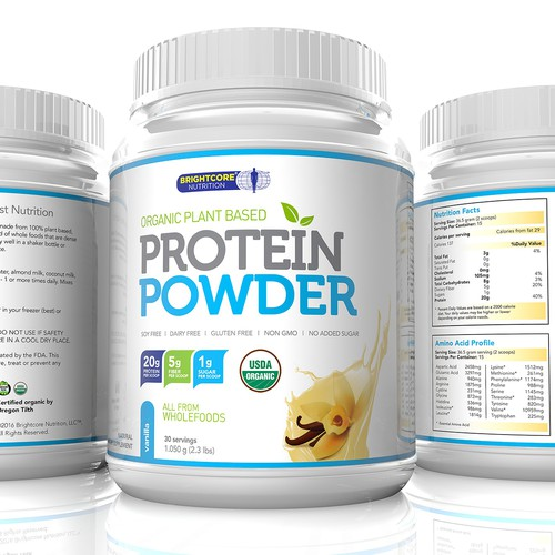 Protein Powder Vanilla flavor Label