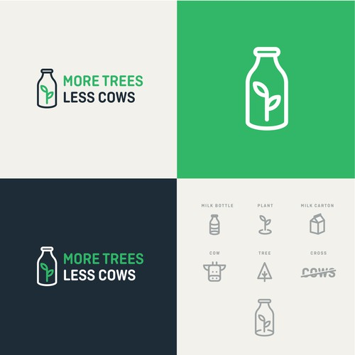 Minimal logo for MORE TREES LESS COWS