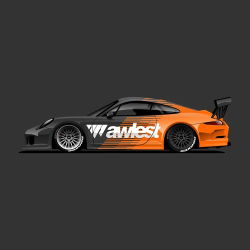 Porsche 911 GT3 RS Illustration for Awlest Wheels.