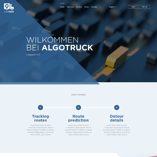 Landing page for trucks company