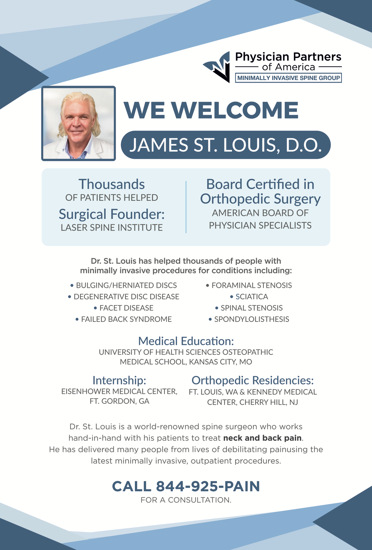 Dr. James St. Louis Welcome Poster