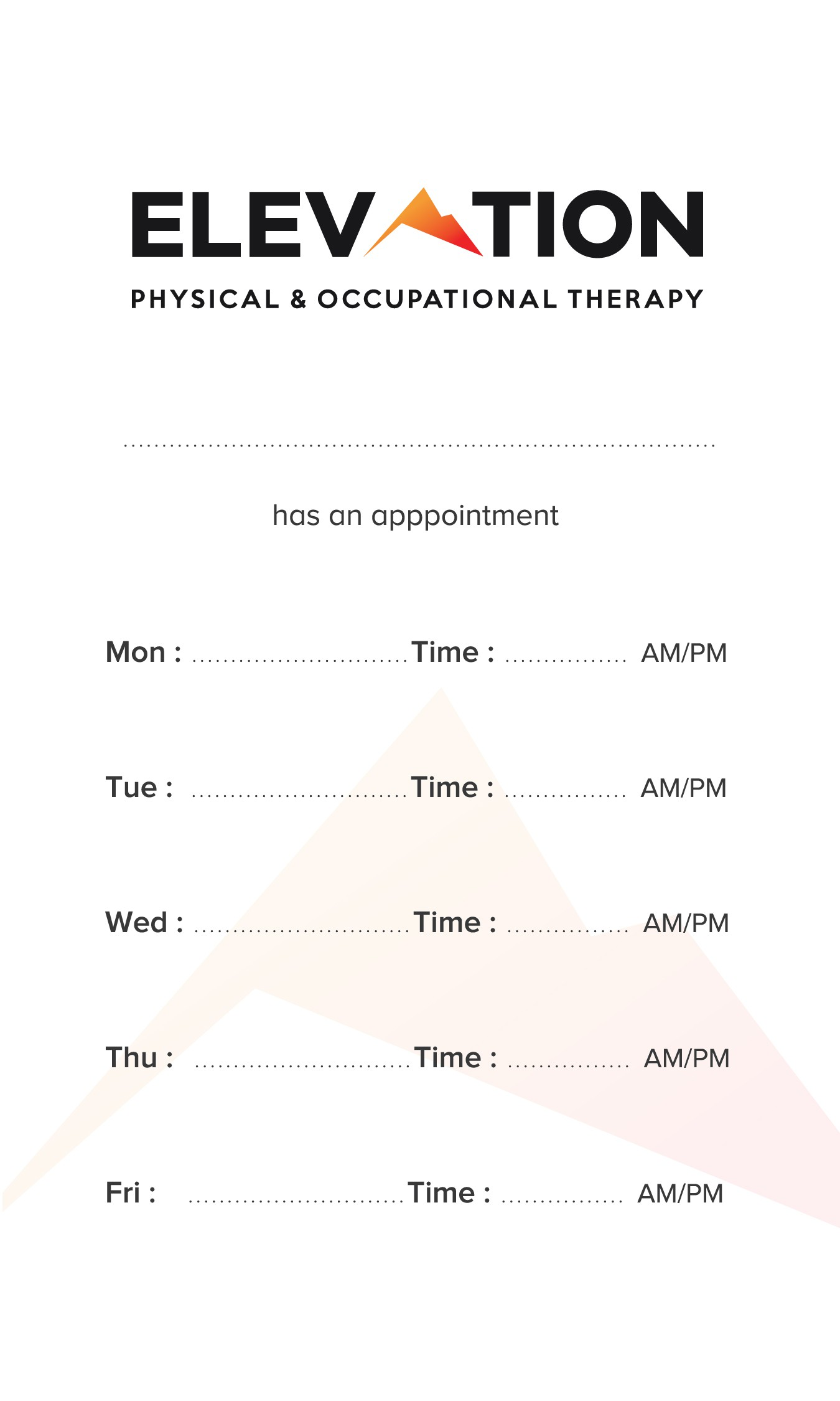 Elevation physical and occupational therapy business cards