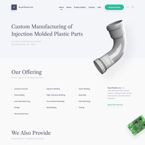 Clean Web Design for Plastic Molding Company