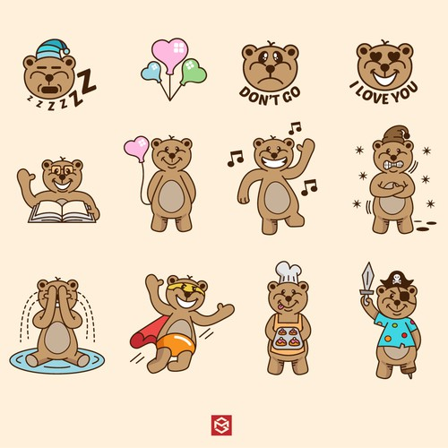 Cute bears sticker collection