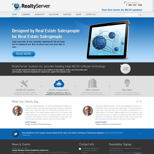 Create the next website design for RealtyServer