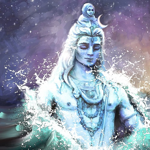 Create a beautiful piece of artwork using the imagery of Lord Shiva