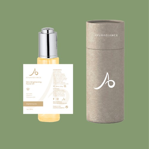 Luxury product label for skin brightening facial oil