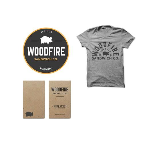 Woodfire Sandwich Shop Logo Design