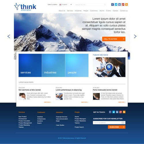 Homepage design for Think Product Group Ltd