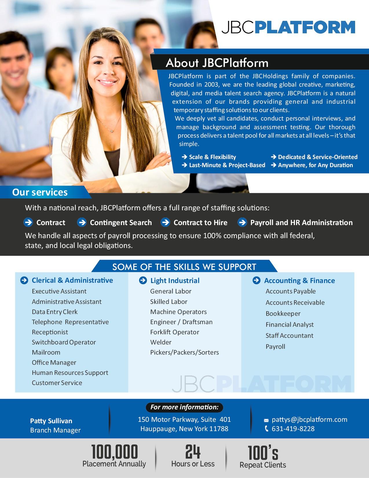 Create a one page marketing flyer for JBCPlatform