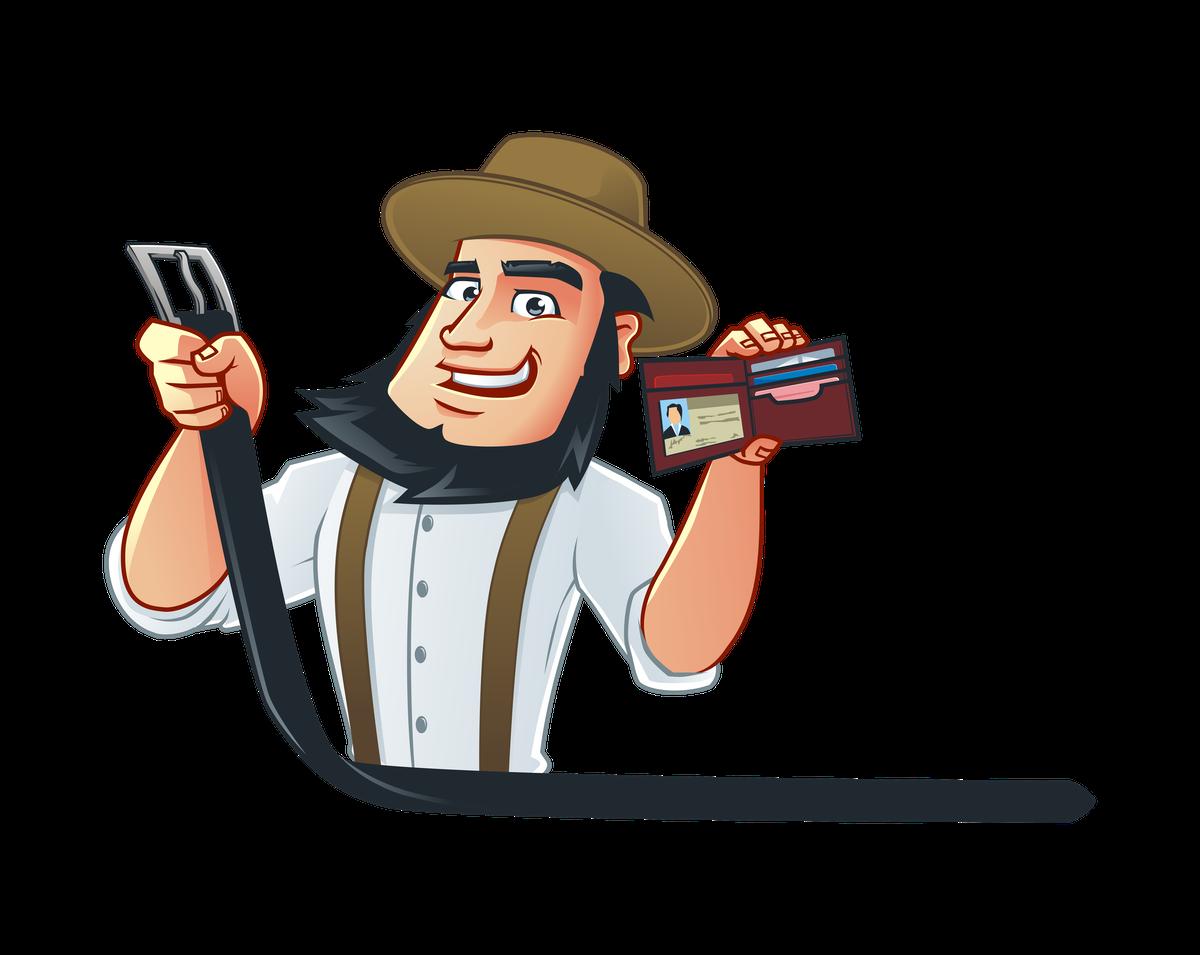 Amish mascot doing different tasks