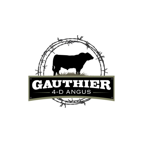 Create a company logo for a small cattle ranch, Gauthier 4-D Angus