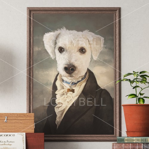 Dog in dandy style suit /1800's/