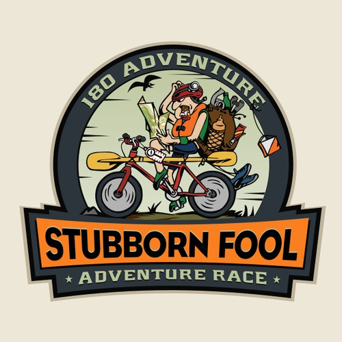 Createa logo for the Stubborn Fool Adventure Race