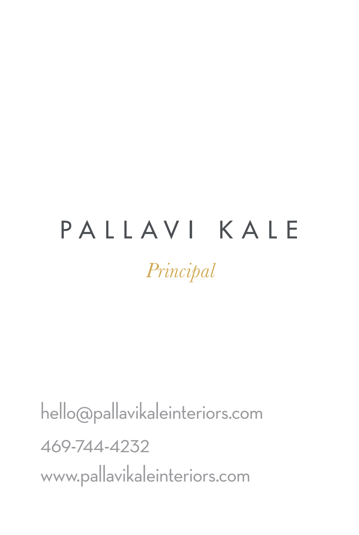 Business card design for Pallavi kale interior