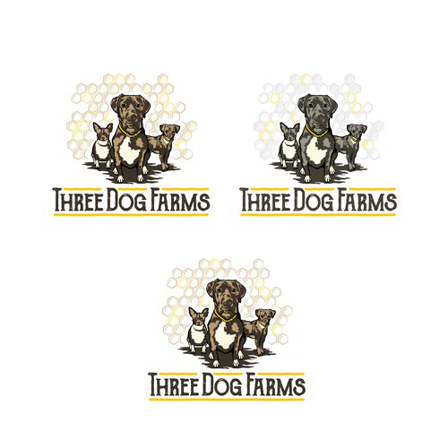 Logo for sustainable 3 Dog Farms and native organic honey from SoCalifornia!