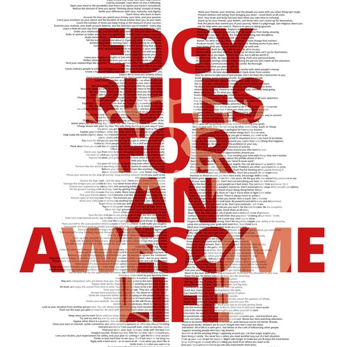 "Typographic Posterdesign ""STAY EDGY. BE AWESOME."""