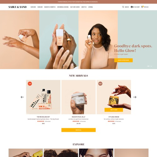 Sable & Sand homepage design