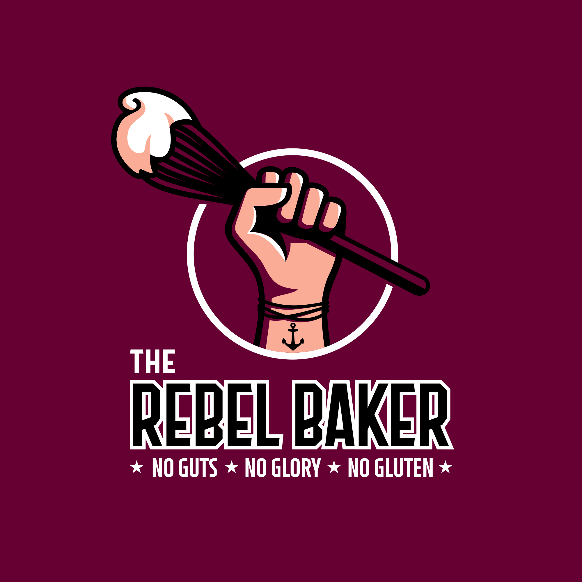 The Rebel Baker ( gluten free goods) design that embodies my slogan No Guts, No Glory, No Gluten.