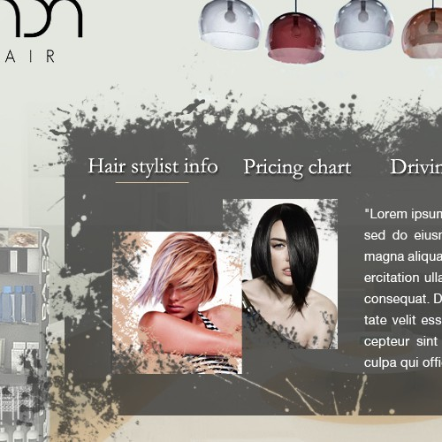 Design for hair stylist webpage