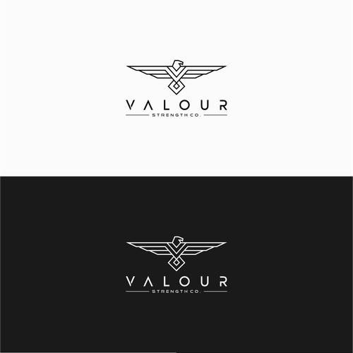 Geometric Eagle initials V logo for Valour Strength Co.