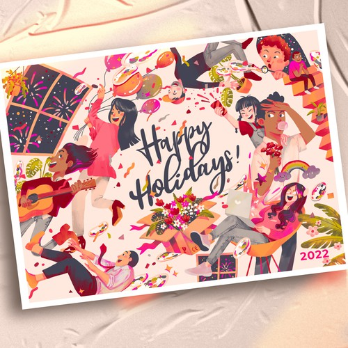 Happy Holiday postcard design
