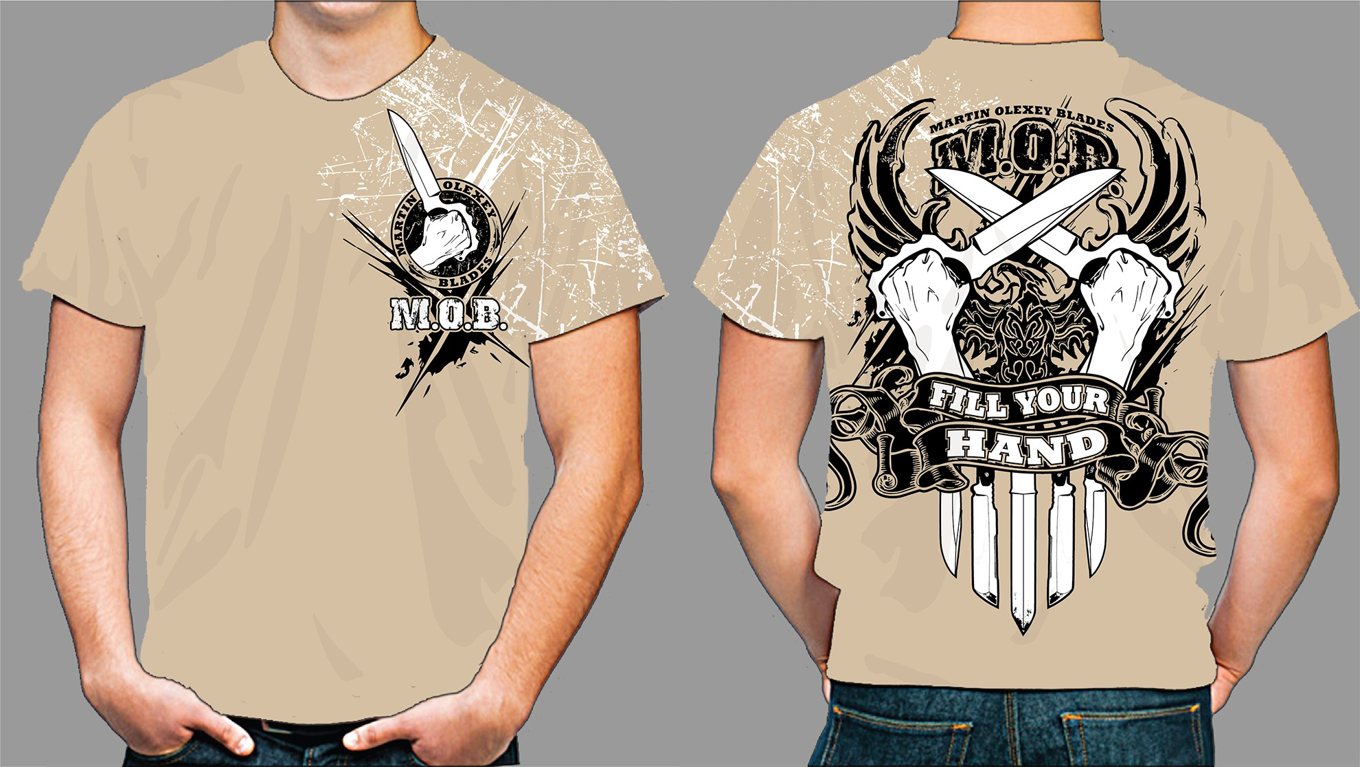 Create a T-Shirt design that conveys the aggressive design style of a custom Knife Maker!