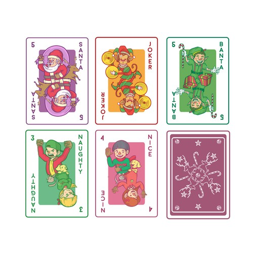 Characters design concept for christmas playing card