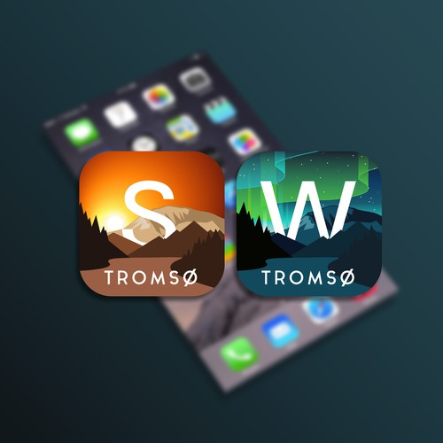 Travel-app icons for Tromso city in Arctic Norway
