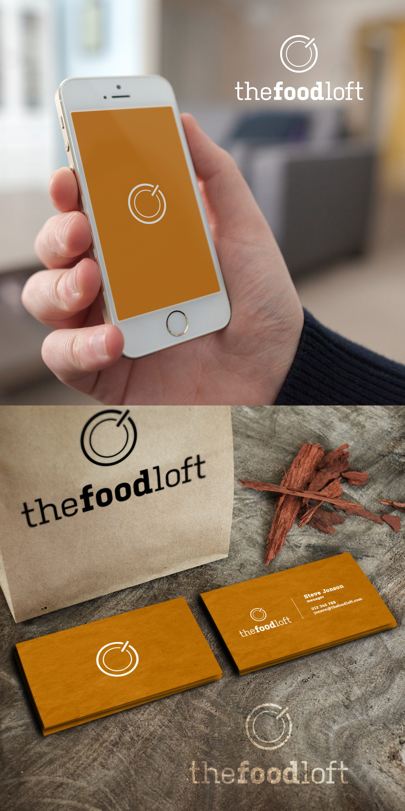 Interesting, creative logo design for food, tech, media coworking space.