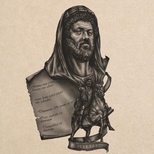 Marcus Aurelius Tattoo Illustration