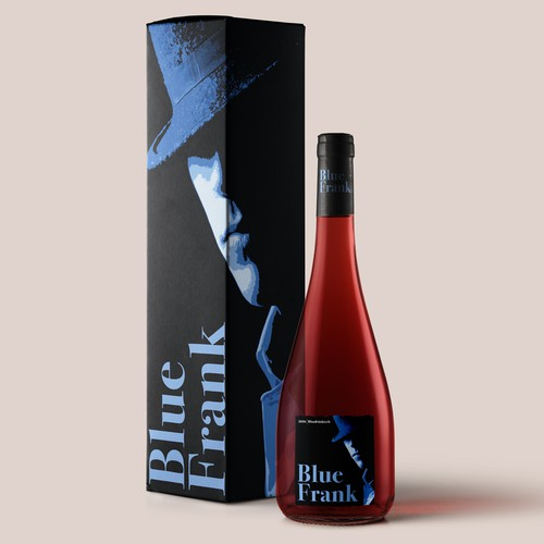 Wine label design for Blue Frank.