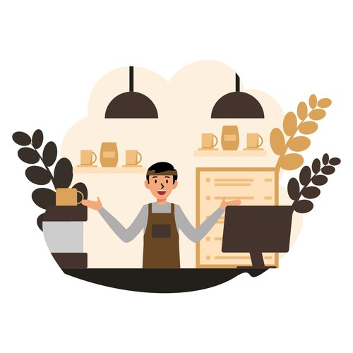 Coffee Bar Barista Vector Flat Illustration