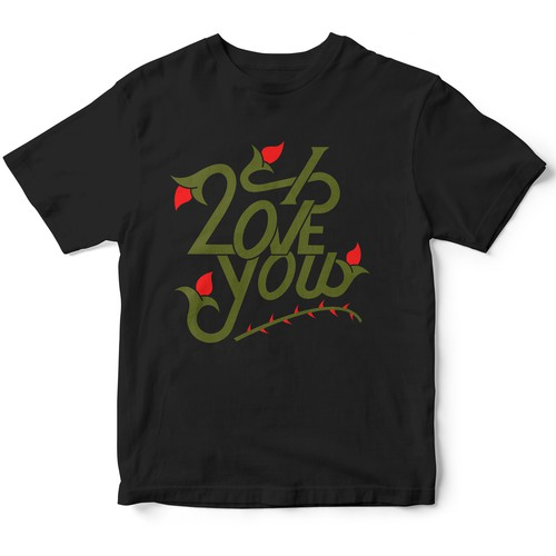 I Love You Typography T-shirt Design