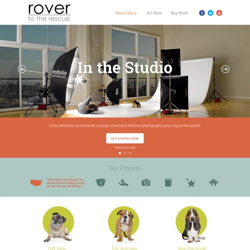 Website for RoverToTheRescue.com (an org that raises money for pet rescues)