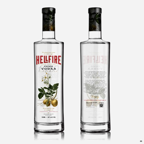 Label design for Hellfire potato vodka.