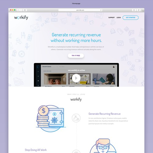 lIght & airy feel for a SaaS homepage