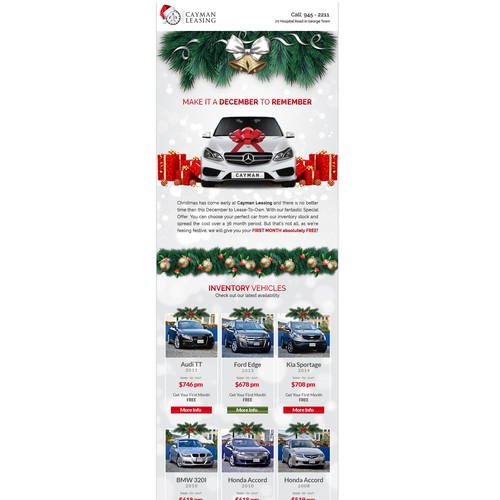 Christmas Email Promotion for Cayman Leasing