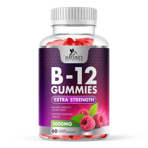 B12 Raspberry Gummies Label Design