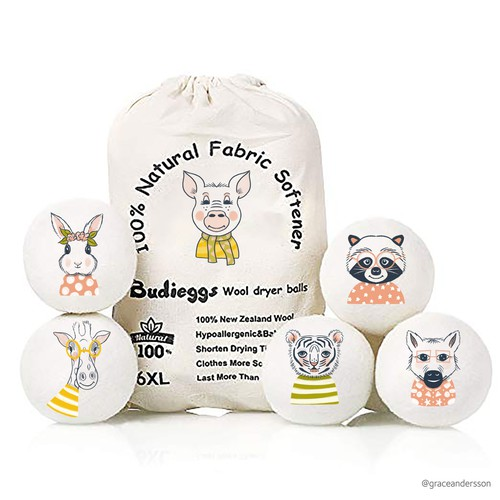 Fabric Softener Wool Dryer Balls - Animals Design