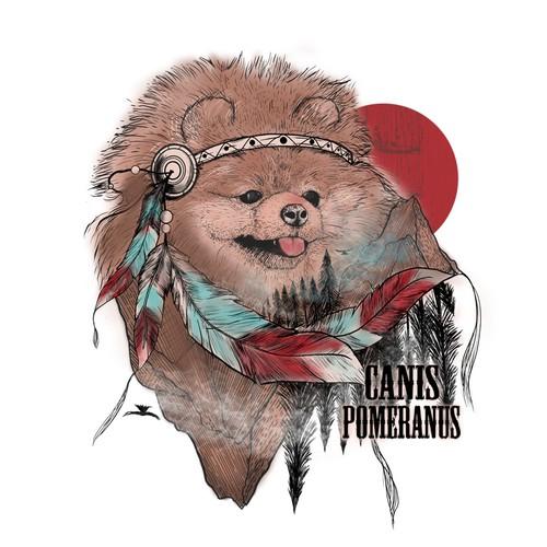 pomeranian dog illustration tshirt