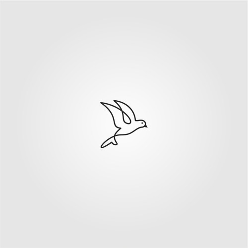 Minimalist Line Art Bird Logo Design