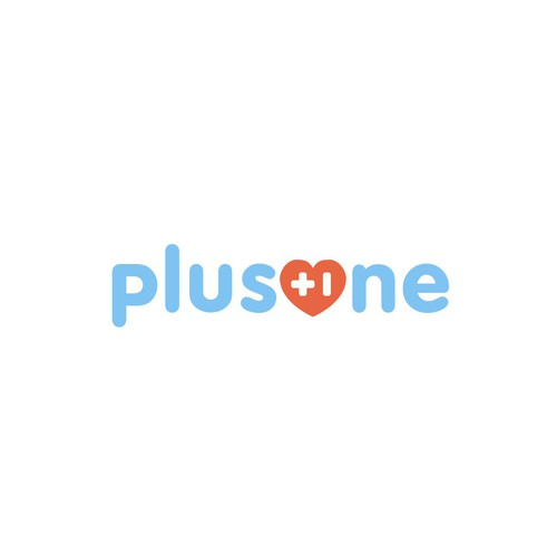 wordmark logo concept for PlusOne