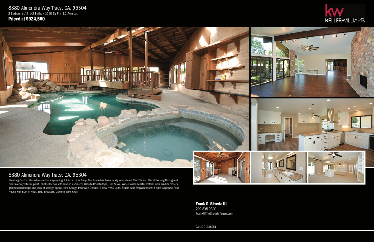 4 Page Brochure for 8880 Almendra Way Tracy, CA. 95304