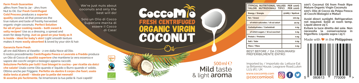 Label for CoccoMio Coconut Oil