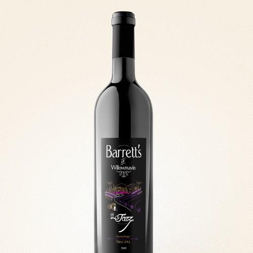 Barretts 'The Jazz' Shiraz Premium Wine Label Design